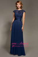 navy blue bridesmaid dresses - 2014 Cheap Navy Blue Bridesmaid Dresses Crew Neck Cap Sleeve Sash Floor Length Chiffon Appliques Lace Illusion Sheer Pleats Prom Gowns
