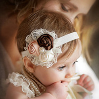 Wholesale Baby Flower Headband Newborn Photo Prop Lace and Satin Pearls and Gems Baby Shower Gift