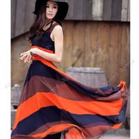 Wholesale Women Bohemian Stripe Long Style Sleeveless Chiffon Beach Dress Maxi Dress SV000577