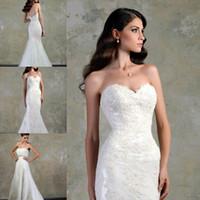 Wholesale Vintage Elegant Sweetheart Appliques Short Train Mermaid Trumpet New Fashion Trend Wedding Grown Dresses