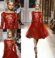 Cheap Elegant Newest 2014 Zuhair Murad Tulle Evening Dresses Gowns Dark Red Appliques Long Sleeve Short Prom Formal Dressesgown Knee-Length Scoop