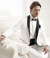 best neck designs - 2015 New Design Ivory Groom Tuxedos Black Satin Lapel Best Man Groomsmen Men Wedding Suits Bridegroom Jacket Pants Girdle Tie OK