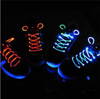Wholesale New Promotion First Generation Luminous Shoelace LED Flashing Shoelace Light Up Shoe Shoelaces Shoestring Flash Glow Stick Christmas Gifts