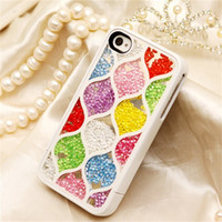 For Apple iPhone TPU TPU Bling Bling Diamond Rhinestone Crystal Case Swarovskfor Iphone 4 4S New Design Butterfly Rainbow Leopard Print TPU Cover With Retail Package