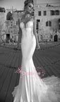 Three-Layer   2015 Galia Lahav Custom Made Mermaid Wedding Dresses Lace Bridal Gowns Spaghetti Sweetheart Backless Summer Beach Bridal Gowns GL1413