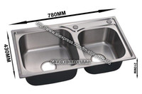 Wholesale kitchen sink kitchen bowl double bowl stainless steel brushed anti rust promotion top quality