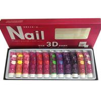 Cheap 12 Colors 3D Nail Art Paint Tube Draw Painting Acrylic Nail Art Tip UV Gel
