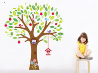 Wholesale Details about USA Houselet amp Large Owl Apple Tree Wall Sticker Mural Vinyl Decal Kids Room Decor