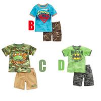 Boy Summer Short Summer Clothing Children Suit Superman Batman Camouflage Short sleeve T shirt + Shorts 2pcs Boys Casual Sets Kids Outfits 5sets lot TX707