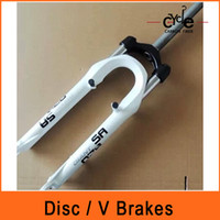 Wholesale MTB Avoid Shock Aluminum Forks White Bike Forks Disc Brakes V Brakes Two uses Bicycle Parts EMS HW0152