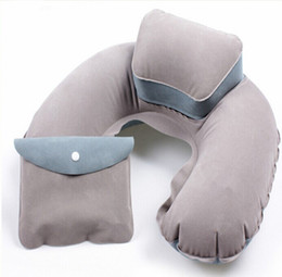 Wholesale Flight Airplane Comfortable inflatable flock printing picture pillow comfortable travel neck pillows portbale for camping