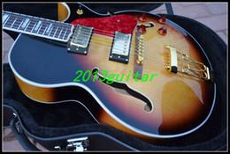 Wholesale China Arrival Sunburst Custom F hole jazz Electric Guitar one piece neck No Scarf