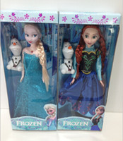 "Blue Plastic skirt 2014 New Arrival 11.5inch musical Frozen Doll Anna and Elsa with Olaf with music ""let it go ""best toys for kids baby girls 340AY"