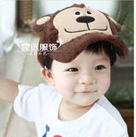Wholesale Children caps Kids Baseball Cap Baby Casual Winter Fluffy Caroon Monkey Modeling Sunhat Visor cap