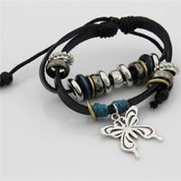 Charm Bracelets leather cord braided - infinity bracelet butterfly metal beaded bracelet manual wax cord bracelet handmade MultiLayer Braided Leather Bracelet charm bangle