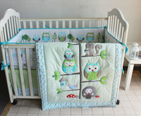Wholesale Happy Owls and Friends Three Animals Embroidered Baby Cot Crib Bedding Set items includes Quilt Bumper Sheet Skirt for boy bed kit