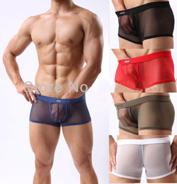 Wholesale Net Gauze Mens Mesh Short man Mesh Soft Underwear See Through Trunks Lingerie Transparent Boxers Trunks Bottoms M L XL XXL