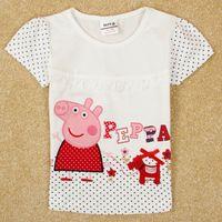 Cheap 2014 stock nova kids summer clothes girls short sleeve t-shirts cartoon peppa pig embroidery cheap tshirts baby white t shirt