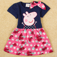 Cheap Baby clothes 2014 summer peppa pig dress decoration bow Flower dress girl party dresses nova brand kids cartoon clothing in stock