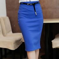 Moda Womens Candy Color Estiramiento Slim Fit Falda Con Cinturón de Color Sólido Mediados de Alto Cintura Lápiz Rodilla-Longitud Vestido corto WF-3508