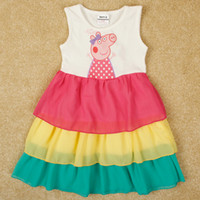 Cheap Baby clothes 2014 summer peppa pig dress decoration bow rainbow dress girl party dresses nova brand kids cartoon clothing in stock