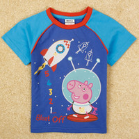 Cheap kids summer clothes 2014 latest products boys short sleeve shirt cartoon Peppa Pig blue cheap tshirts babies clothing in stock