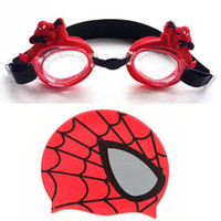 Wholesale Waterproof Silcone Spider Men Spiderman Swim Goggles Glasses with Swimming Cap Water Sports Supplies Gift Decor Toys