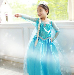 Wholesale 2014 New Frozen Lace Dress Girls Long sleeve Dress Princess Elsa Blue Party Dresses Kids Clothing Crown Magic Wand for Party