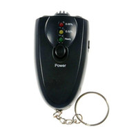 Wholesale Retail Black Mini Portable Mini breath alcohol tester with flashlight and keychain ALT