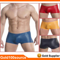 Cheap Brand New Adult Sexy Mens Man Boxer Briefs Comfort Pouch Low Rise Underwear Shorts Size M L XL Faux Leather Like Trunks New 2014