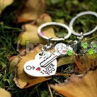 Wholesale free ship alloy heart english i love you word key keychain car key ring couple lover key chain advertising wedding gift keychains