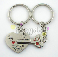 Wholesale free ship alloy heart english i love you word key keychain car key ring couple lover key chain advertising wedding gift keychains
