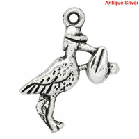 Chains K10092 Slide Charm Pendants Stork Carrying Baby Antique Silver 20x15mm,50PCs (K10092)