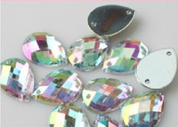 Wholesale CR035 MM AB Color Drop Shape DIY Rhinestones Acryl Acrylic sew on flatback Rhinestones Garment accessories
