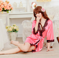 Wholesale 2014 Fashion New Sexy Satin Lace Long Sleeve Lingerie Dress Costume Baby Doll Pajamas robe women sleep wear kimono DR865