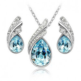 Wholesale - Austrian crystal jewelry 925 sterling silver jewelry set with diamonds necklace and a pair of earrings Swarovski Crystal Element
