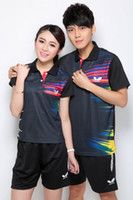 Wholesale 2014 New Polyester Butterfly Table Tennis Shirt Short For Couples Badminton Clothing Suits Sports Tennis Jersey Plus Size