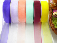Wholesale 1 inch mm cm high density nylon transparent yarn sheer organza ribbon roll webbing Colors In Stock DIY accessories