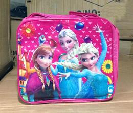 Wholesale Elsa Anna princess Kids Cartoon Lunch Box Set Nylon Cartoon Lunch bag kid lunch bag