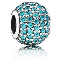 Wholesale Authentic ALE Sterling Silver Teal Pave Charm Bead with Crystals Fits European Jewelry Pandora Charm Bracelets