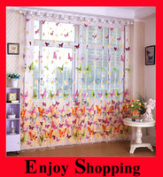 Wholesale 2014 C01 New Arrival Cheap Butterfly Rustic Romantic Curtain Window Screening Customize Finished Products Balcony