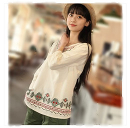 Wholesale 2014 New Women T Shirts Japanese Department of Forestry Long Sleeve Round Collar Hand Embroidered Folk Costume Cotton White Blouse PY