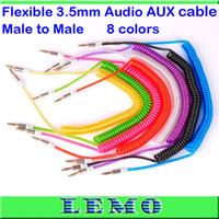 Wholesale Crystal Flexible mm Audio Aux Cable FT M Long Glaring Male to Male Audio Aux Cord for iPhone ipod Samsung HTC LG Sony phone MP3 Tablet