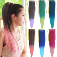 Wholesale 5pcs quot cm Ribbon Ombre Straight Women s Ponytail Hair Extensions Gradient Clips In Synthetic Hairpiece