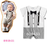 Boy Summer O-Neck Brand new children kids fake suspenders gentlemen bow tie dress
