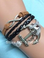 Charm Bracelets Men's Fashion Free Shipping!6PCS LOT!New Fashion Black Leather Rope Metal Silver Tone Anchor Infinity Mixed Charms Lobster Clasp Braelet U-927