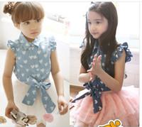 2014 nuevos vestidos de las niñas jean establece verano de los niños vuelan modelo del corazón de la manga de vaquero top + falda tutú de tul 2pcs niños vestido de princesa establece A4045