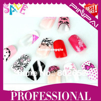 Decal 2D Metal Wholesale-Free Shipping ( 4sets lot ) 2013 New Arrival 3D French Acrylic False Nail Full Tips With Free Nail Glue Wholesale