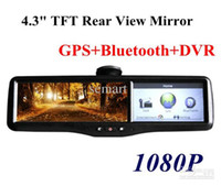 "Monitor TV Roof Wholesale - New Design Car 4.3"" TFT Mirror Monitor+rear view+GPS+Bluetooth+DVR(1080P) Video recorder +2 Cameras"