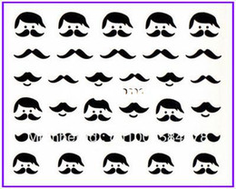 Wholesale Nail Art Water Transfers Stickers Black Mustache Glasses Tile hat Nail Decals Stickers Water Decal